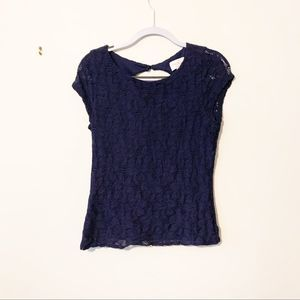 Laundry by Shelli Segal navy blue lacy blouse